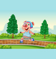 happy pig playing roller skate at park vector image vector image