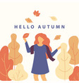 hello autumn flat with cartoon vector image