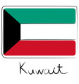 Kuwait flag doodle vector image vector image