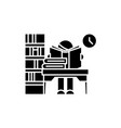 library black icon sign on isolated vector image vector image