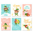 merry christmas let it snow greeting cards set vector image