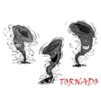 Nasty cartoon tornado hurricane and thunderstorm vector image vector image