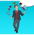 Pop Art Businessman Juggling Computer Phone vector image