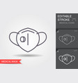 protection face mask with flap line icon vector image vector image