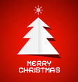 Red Merry Christmas Background with Paper Tree vector image vector image