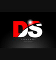 red white color letter combination ds d s vector image vector image