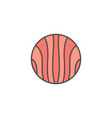 round flat salmon slice colored icon or vector image vector image