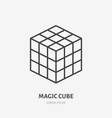 rubik magic cube flat line icon puzzle game vector image vector image