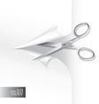 Scissors wih paper sheet vector image vector image