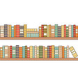 seamless bookshelves with colorful books library vector image vector image