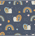 seamless pattern with cute little snails vector image