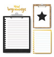 set of clipboard with lined paper mock up vector image