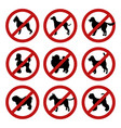 set of dog prohibition signs different breeds vector image