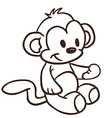 simple black and white monkey vector image
