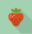 strawberry flat icon with shadow vector image vector image