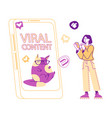 tiny female character at huge smartphone vector image