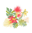 tropical flower composition hand drawn vector image