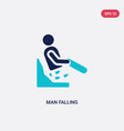 two color man falling icon from behavior concept vector image