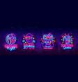 video games logos collection neon sign vector image vector image