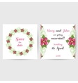 Wedding Postcard With Pink Flowers vector image vector image