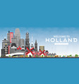 welcome to netherlands skyline with gray vector image vector image