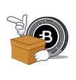 with box bytecoin coin character cartoon vector image vector image