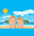 womens feet in flip flops landscape of beach vector image vector image
