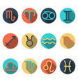 zodiac flat buttons icon set separated by vector image