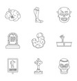zombie part icon set outline style vector image vector image