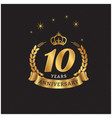 10 years anniversary gold ribbon crown background vector image