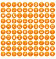 100 europe icons set orange vector image vector image