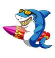 a shark cartoon with eyeglasses carrying surfboard vector image