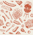 barbecue grill seamless pattern in vintage style vector image vector image