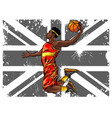 black male basketball player running while vector image vector image