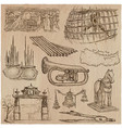 bric a brac objects - an hand drawn pack vector image vector image