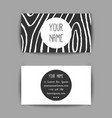 business card template with hand drawn wooden vector image vector image