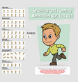 cartoon boy character animation sprites sheet set vector image