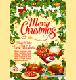 christmas and new year holidays dinner poster vector image vector image