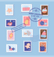christmas postage stamps with xmas elements - gift vector image