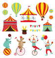 Circus Objects Flat Icons Set vector image vector image