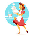 clumsy attractive woman falling plates and dishes vector image