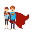 colorful image caricature full body couple youngs vector image