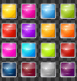 Colorful Square Glass Buttons Set on Transparent vector image