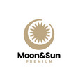 crescent moon and sun logo icon vector image