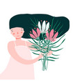 cute girl holding bouquet of flowers vector image vector image