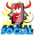 evil fun mobile cartoon on flame vector image