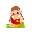 flat girl sitting at carpet reading book vector image