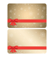 gift cards with snowflakes and bows - backgrounds vector image