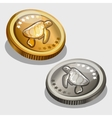 Gold and silver coin with image of a turtle vector image vector image