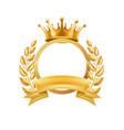 gold crown laurel wreath winner frame isolated vector image vector image